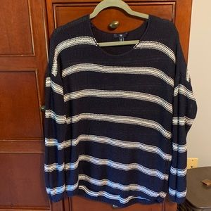 Gap navy blue and white striped sweater